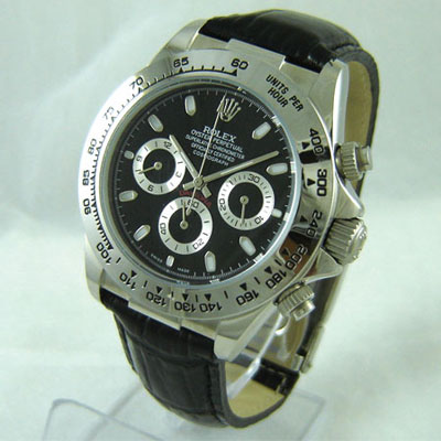 Replica Rolex DAYTONA STEEL BLACK DIAL LEATHER