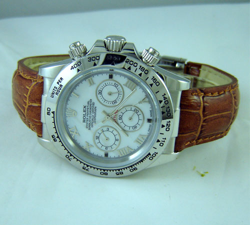 Replica Rolex DAYTONA STEEL-LEATHER WHITE DIAL