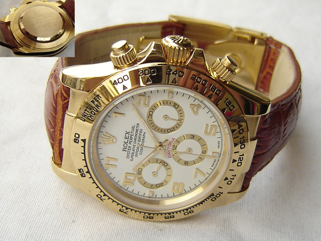 Replica Rolex DAYTONA GOLD-LEATHER WHITE DIAL