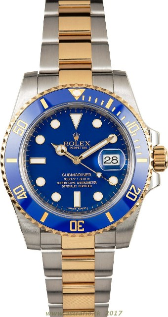 REPLICA ROLEX SUBMARINER CERAMIC TWO TONE BLUE 166113
